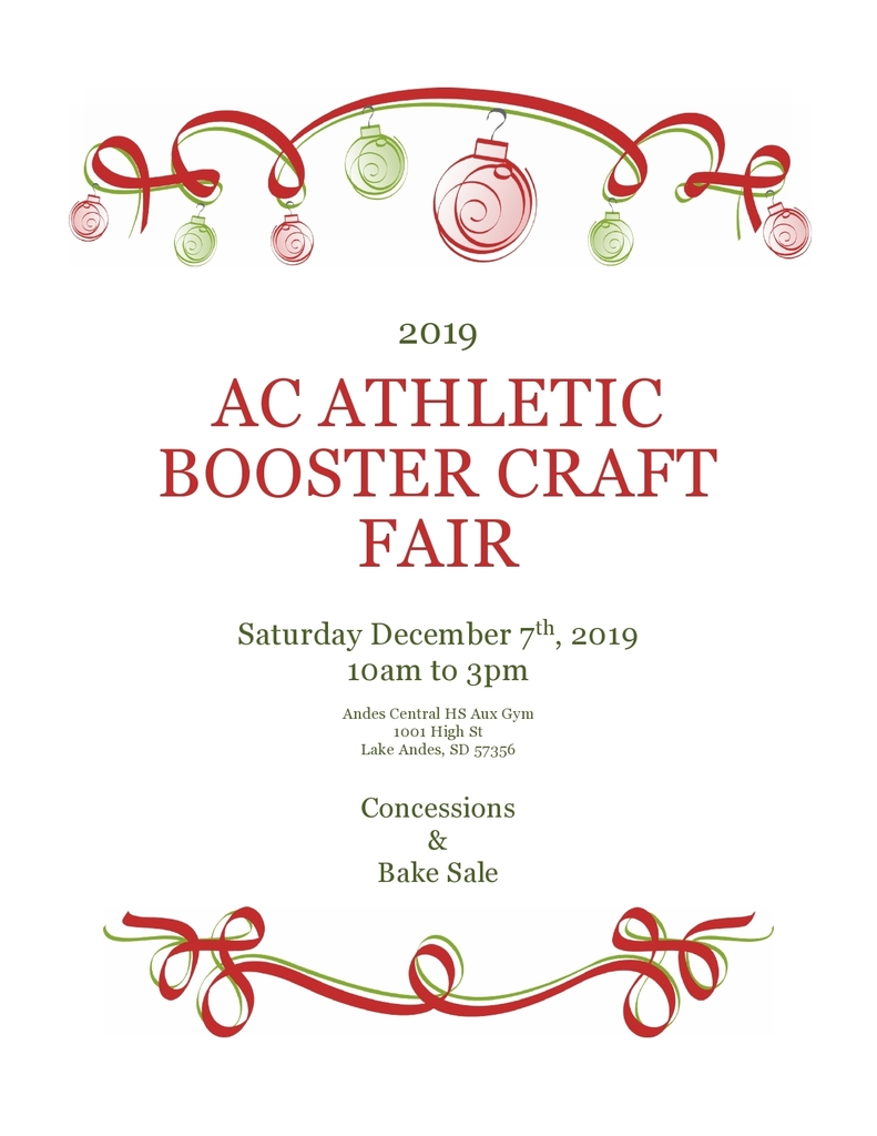 Athletic Boosters Craft Fair 12/07/19