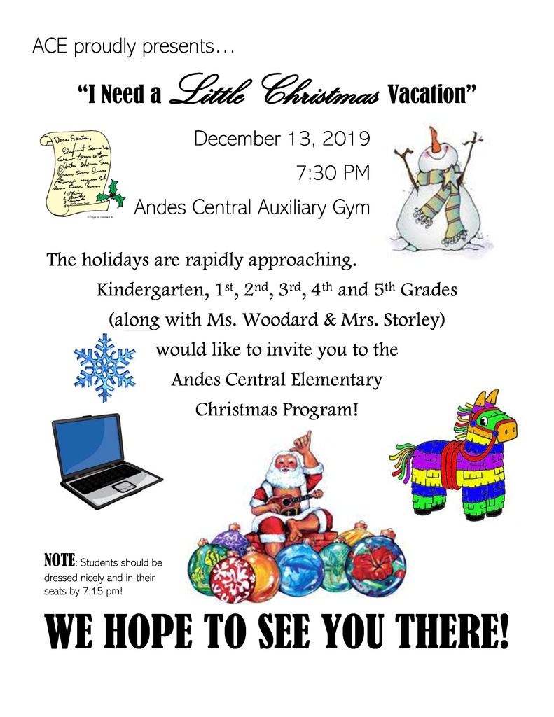 ACE CHRISTMAS PROGRAM 12/13/19 @ 7:30PM