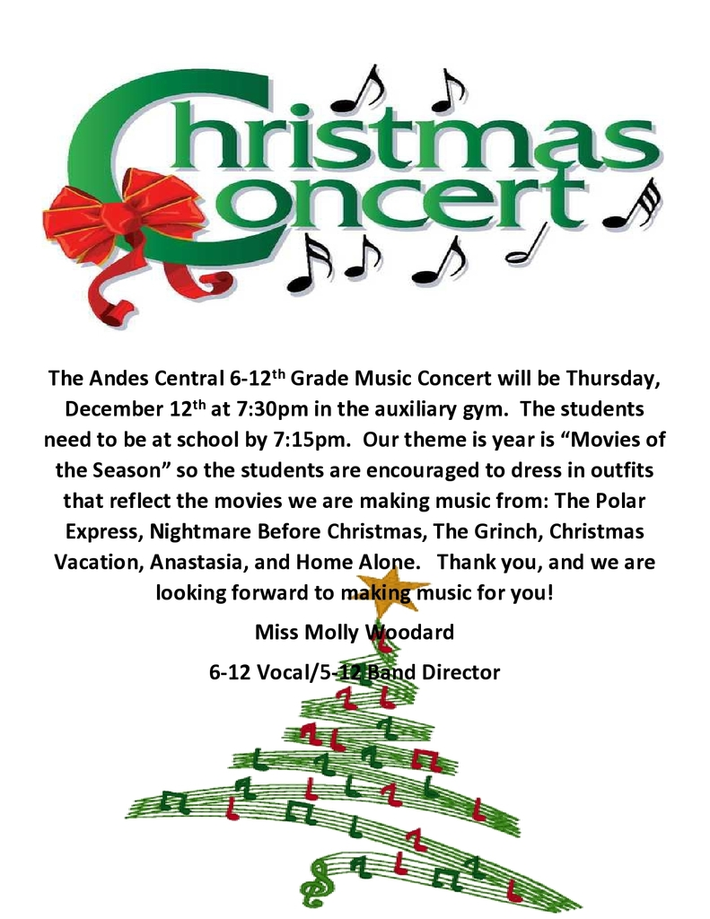 MS/HS Xmas Concert 12/12/19 @ 7:30pm-aux gym