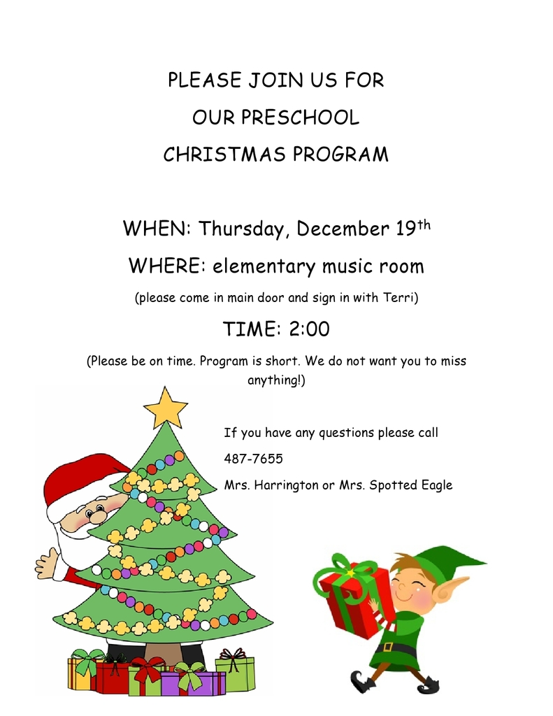 Preschool Christmas Program 12/19/19 @ 2pm