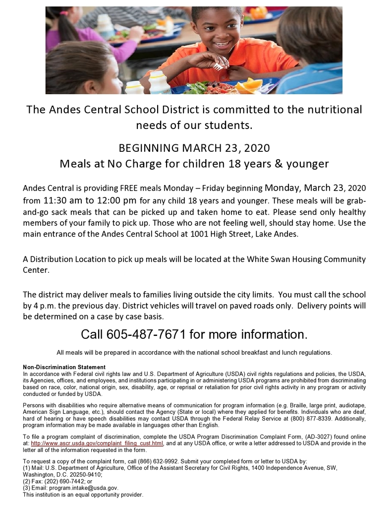 Andes Central Food Service Program through May 21st