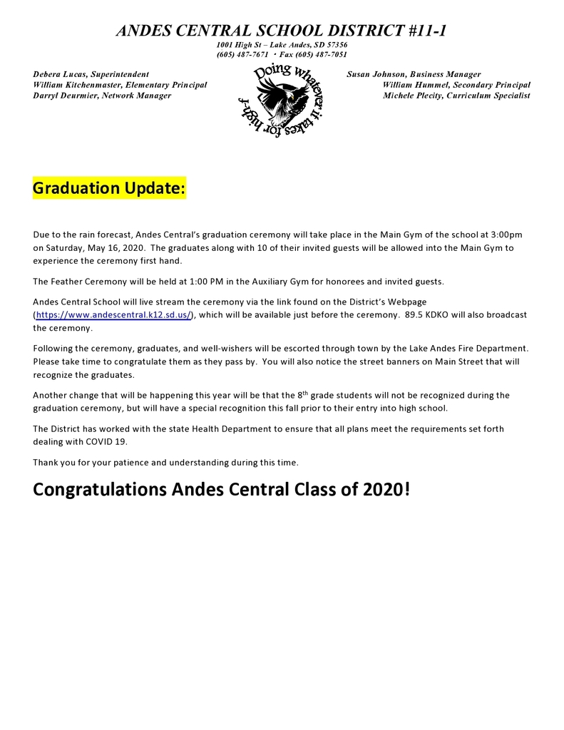 Andes Central Graduation Update